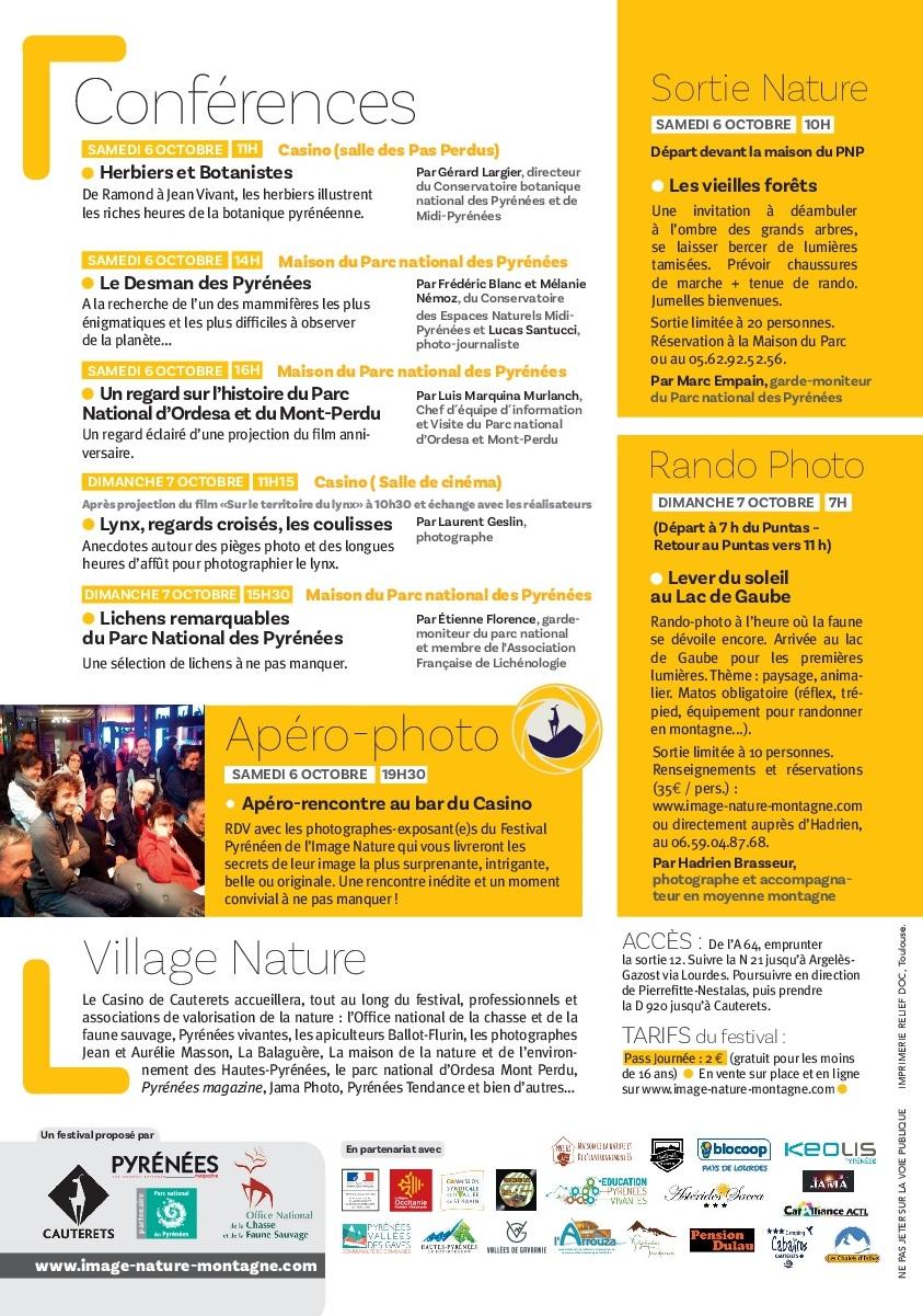 Conférences, Apéro-Photo, Rando-Photo, Sortie Nature, Village Nature, Infos pratiques FPIN 2018