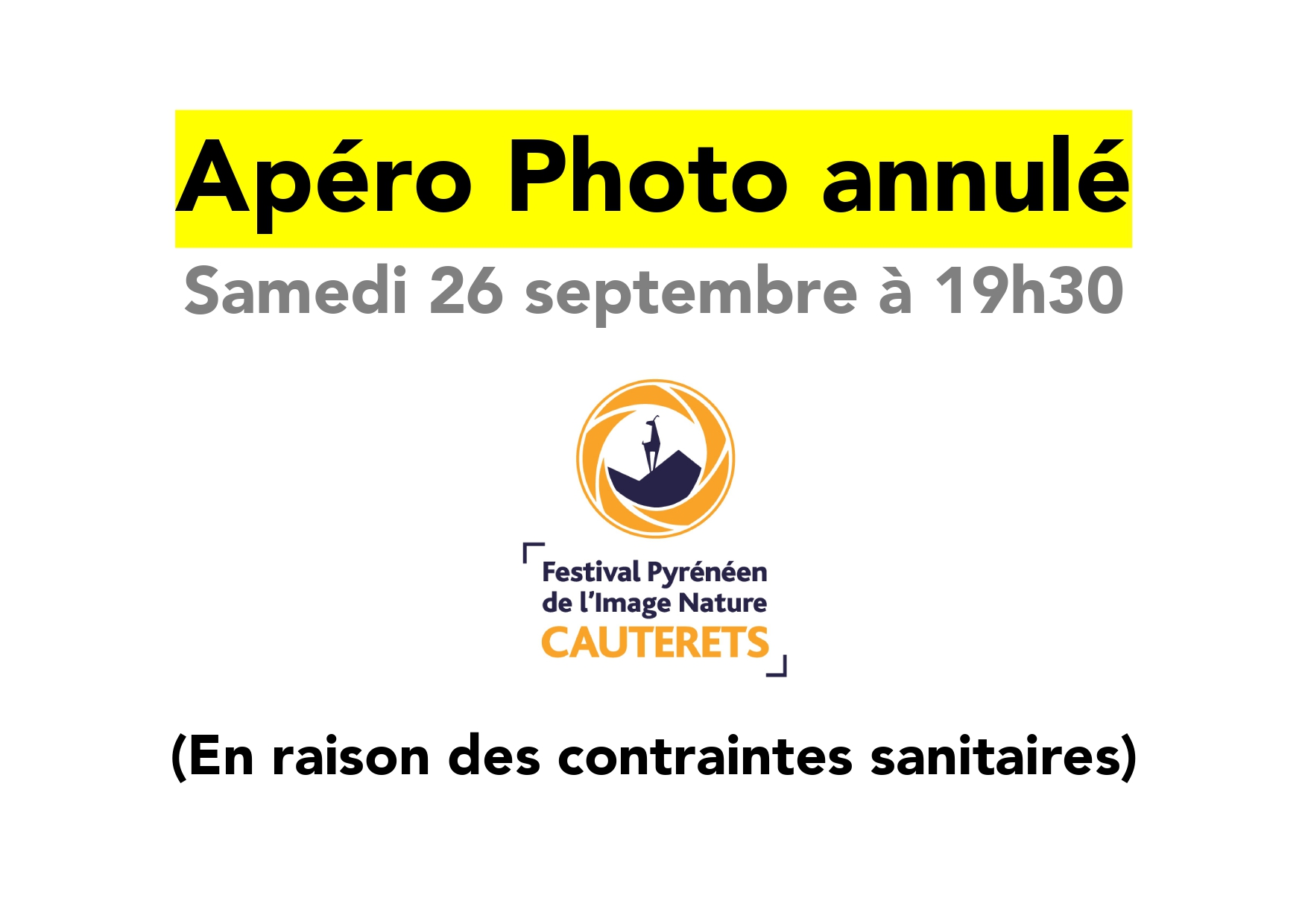 Apéro Photo 2020 annulé